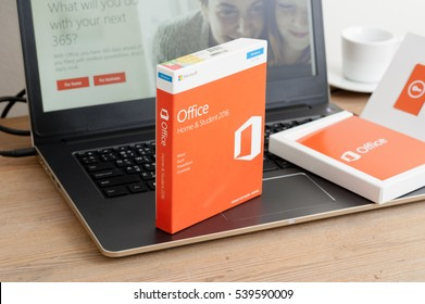 BANGKOK, THAILAND - DECEMBER 20, 2016: The retail box of Microsoft Office Home & Student 2016. Microsoft Office is an office suite of applications developed by Microsoft Corporation.