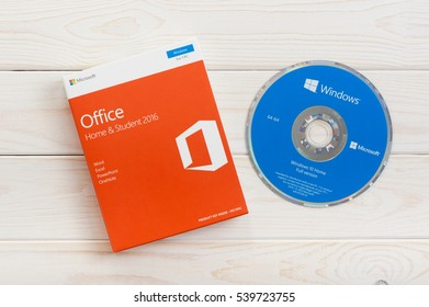 BANGKOK, THAILAND - DECEMBER 20, 2016: The DVD of Microsoft Windows 10 and Retail box of Microsoft Office Home & Student 2016.