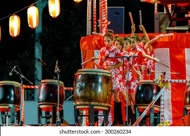"BANGKOK, THAILAND - DECEMBER 20: Bon-Odori Festival in Bangkok, Thailand on December 20, 2014. Participants in ""Bon"" festival, held annually to celebrate the relationship between Thailand and Japan"