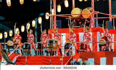 "BANGKOK, THAILAND - DECEMBER 20: Bon-Odori Festival in Bangkok, Thailand on December 20, 2014. Participants in ""Bon"" festival, held annually to celebrate the relationship between Thailand and Japan"