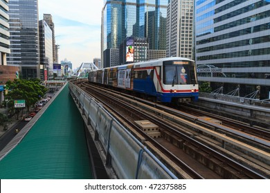 BANGKOK, THAILAND - DECEMBER 20: A cityscape of Bangkok with BTS sky train on December 20, 2015 in Bangkok, Thailand.