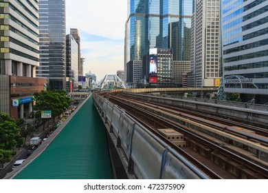 BANGKOK, THAILAND - DECEMBER 20: A cityscape of Bangkok with BTS sky train system on December 20, 2015 in Bangkok, Thailand.