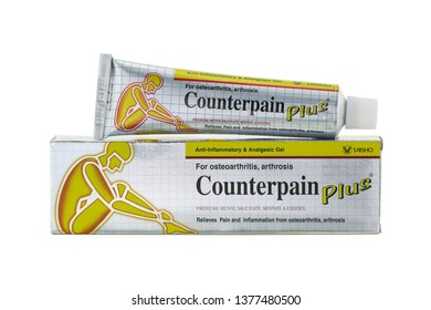 BANGKOK, THAILAND - DECEMBER 2015 : Box of Counterpain Plus, anti inflammatory and analgesic gel for osteoarthritis, arthrosis on white background on December 15, 2015 in Bangkok, Thailand