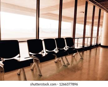 Bangkok, Thailand - December 20,2018: Empty seats in the big terminal at Donmuang airport in Bangkok city, Thailand.