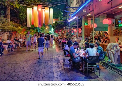 Bangkok, Thailand - December 21, 2015: Rambuttri Alley at night, a popular food street close to Khaosan road and famous district for back packer and budget tourist.