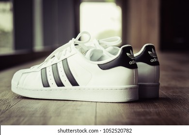 BANGKOK, THAILAND - DECEMBER 21, 2017 : The Adidas Superstar Black/White  shoes