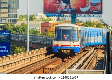 Bangkok, Thailand - December 21, 2017: Bangkok Mass Transit System (BTS) public skytrain at BTS sky train station, Bangkok, Thailand. At present, BTS is become the main transportation in Bangkok