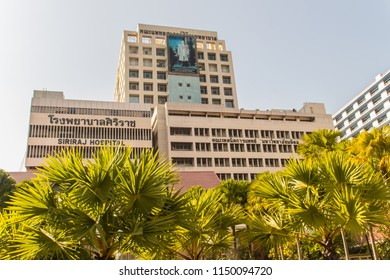 Bangkok, Thailand - December 21, 2017: Modern style building of Faculty of Medicine Siriraj Hospital at the Siriraj hospital, the oldest and largest hospital in Thailand, founded in 1888.