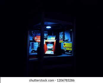 BANGKOK, THAILAND - DECEMBER 21, 2017: a mobile top-up kiosk in the city at night
