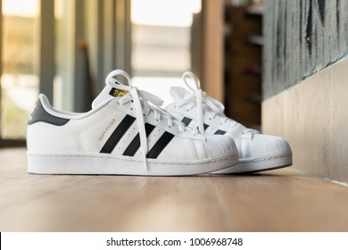 BANGKOK, THAILAND - DECEMBER 21, 2018 : The adidas Superstar shoe debuted  in 1969