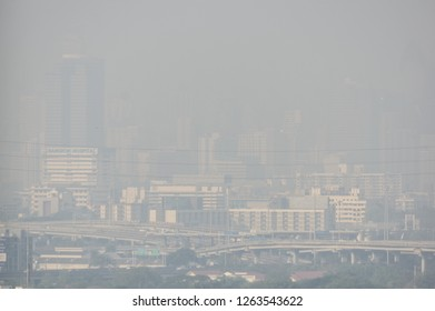 BANGKOK, THAILAND - DECEMBER 21, 2018: PM2.5 particles exceeding acceptable standards in Bangkok this morning cause poor visibility over Bangkok sky.