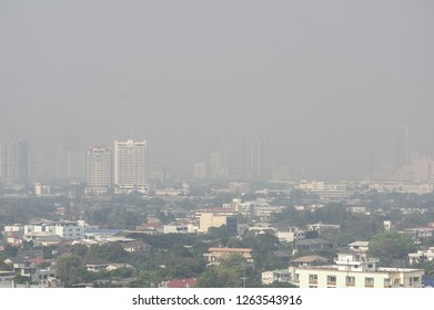 BANGKOK, THAILAND - DECEMBER 21, 2018:  Poor visibility over Bangkok sky causes by PM2.5 particles exceeding acceptable standards.