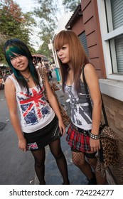 BANGKOK , THAILAND - DECEMBER 22, 2007 :  The Chatuchak Weekend Market is the largest market in Thailand. Punk and skinhead teens meet every weekend in some of the market