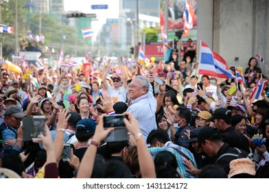 Bangkok, Thailand, December 22, 2013 :Mr. Suthep Thuaksuban, protestors leader has arrived Asoke intersection, one of 5 main rally on December 22, 2013.