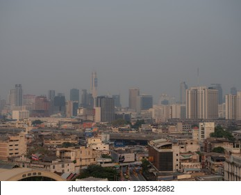 Bangkok, Thailand  - December 22 2018 :  Air pollution in Bangkok city was worse and the level of particulate matter smaller than 2.5 microns (PM2.5) in the capital were considered to be very harmful.