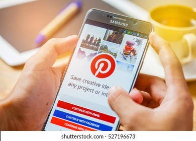 Bangkok, Thailand - December 2,2016:Samsung note5 with social Internet service Pinterest on the screen. Pinterest is an online pinboard that allows people to pin their interesting things.