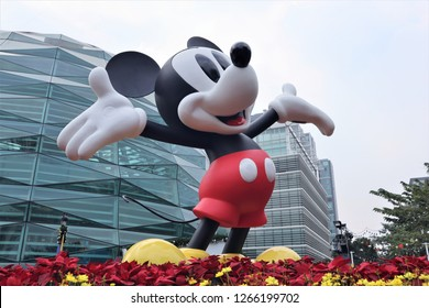 Bangkok Thailand. December 22th, 2018. Mickey Mouse figure for  Celebration of Mickey Mouse's 90th Anniversary at KING POWER Rangnam