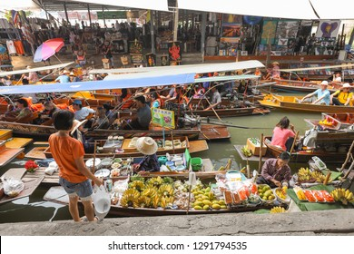 Bangkok, Thailand- December 23, 2018: Damnoen Saduak floating market Bangkok is the most famous floating market in rural Thailand, located a short distance southwest of Bangkok.