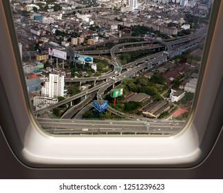 BANGKOK, THAILAND - DECEMBER 23: Bird eye view of Traffic on December 23, 20 13 in Bangkok.