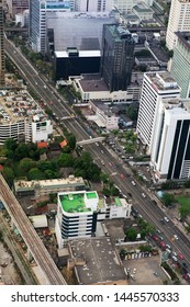 BANGKOK, THAILAND - DECEMBER 23: Bird eye view of Traffic on December 23, 2013 in Bangkok.
