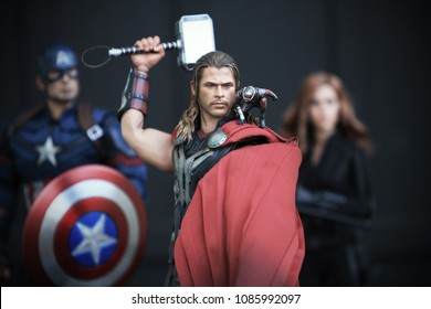 BANGKOK THAILAND - DECEMBER 24 ,2016 : Close up shot of THOR AVENGERS 2 superheros figure in action fighting. Thor appearing in American comic books by Marvel.