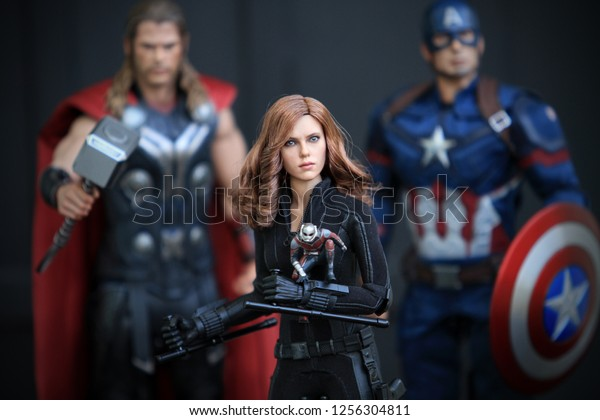 BANGKOK THAILAND - DECEMBER 24 ,2016 : Close up shot of Black Widow AVENGERS 2 superheros figure in action fighting. Blck Widow appearing in American comic books by Marvel.