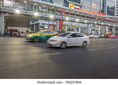 BANGKOK, THAILAND - December 24, 2017: Big C supercenter, in the opposite of Central World, on Ratchadamri road. ar traffic near the Big C suppercenter
