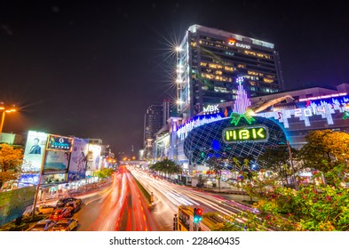 BANGKOK, THAILAND - DECEMBER 25, 2013 : MBK shopping mall at night, welcome to Christmas and Happy New Year 2014 festival on December 25,2013 at Bangkok, Thailand.