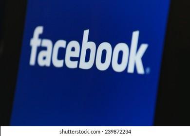 "BANGKOK, THAILAND - DECEMBER 25, 2014: the logo of the brand ""Facebook"" on December 25, 2014. Internet statistics website Socialbakers ranks Bangkok with the highest number of Facebook users worldwide"