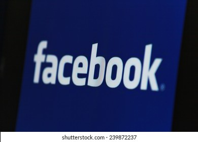 "BANGKOK, THAILAND - DECEMBER 25, 2014: the logo of the brand ""Facebook"" on December 25, 2014. Internet statistics website Socialbakers ranks Bangkok with the highest number of Facebook users worldwide"
