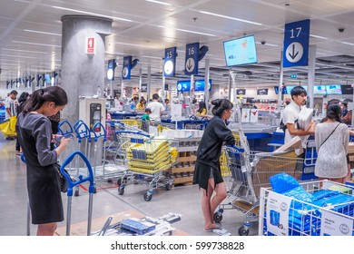 BANGKOK, THAILAND - DECEMBER 25, 2016 : people pay at the counter of IKEA store in cheras ,Founded in 1943, IKEA is the world's largest furniture retailer. IKEA operates 351 stores in 43 countries.