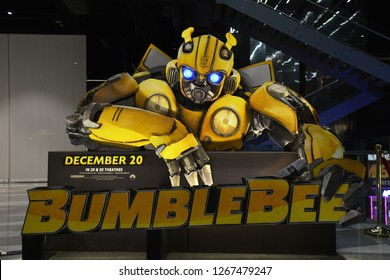 Bangkok, Thailand - December 25, 2018: Standee of Movie Bumblebee displays at the theater