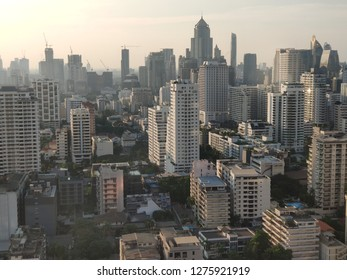 Bangkok, Thailand - December 25, 2018 : Central of Bangkok City view locate at Asoke area. View from Exchange Tower, the office building at Asoke junction (shot by smartphone)