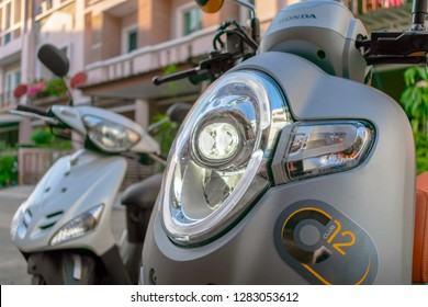 BANGKOK, THAILAND - DECEMBER 25, 2018: LED Headlight housed in Projector on a Modern Honda Scoopy i Scooter