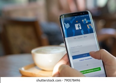 Bangkok, THAILAND - December 25th, 2017: Facebook signup web page app on smart phone with user sign in registration screen using social networking from anywhere office, home workplace in coffee shop.