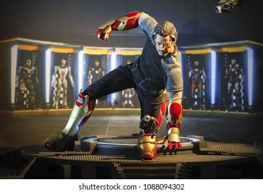 BANGKOK THAILAND - DECEMBER 26 ,2016 : Close up shot of Tony Stark ( IRONMAN ) superheros figure in action fighting. Tony Stark appearing in American comic books by Marvel.