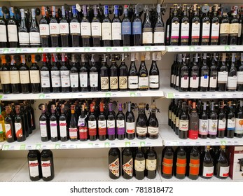 Bangkok, Thailand - December 26, 2017: There are many brands of alcoholic beverages.Place on the shelves. in the supermarket. Drinks that people buy to celebrate in the party. Do not sell to children