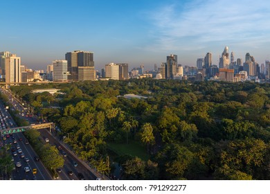 BANGKOK - THAILAND, DECEMBER 26, 2017 : Bangkok Cityscape,business office building with Lumpini park foreground