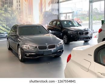 Bangkok, Thailand - December 26, 2018: BMW 3 Series Displaying in a Showroom