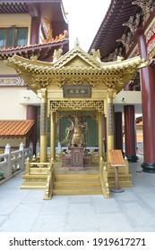 Bangkok, Thailand - December 26, 2020: Statue of Sangharama Bodhisattva or Guan Gong or Guan Yu at Fo Guang Shan Thaihua Temple (a Beautiful Mahayana Buddhist Taiwanese Temple)