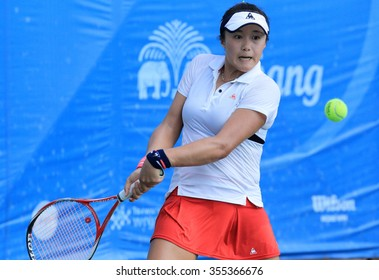 Bangkok, Thailand - December 26 : Na-lae han(KOR) action in Chang ITF Pro Circuit International Tennis Federation 2015 at Rama Gardens Hotel on Dec 26, 2015 in Bangkok, Thailand. She won in this match