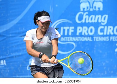 Bangkok, Thailand - December 26 : Risa Ozaki(JPN) action in Chang ITF Pro Circuit International Tennis Federation 2015 at Rama Gardens Hotel on Dec. 26, 2015 in Bangkok, Thailand.