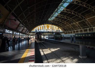 Bangkok, Thailand - December 27,2018 : Bangkok train station, Hua Lam Phong, with trains operation and passengers all around platforms.