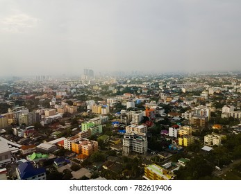 BANGKOK, THAILAND - December 28, 2017 : The fog covers the city at Bangkok, Thailand.