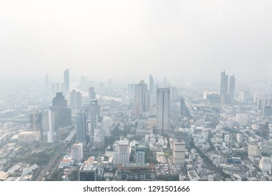 BANGKOK, THAILAND - December 28, 2018: Air pollution in Bangkok with PM2.5 air-quality index (AQI) reached dangerous level with dust and smog in hazy sky, seriously threatening to public health