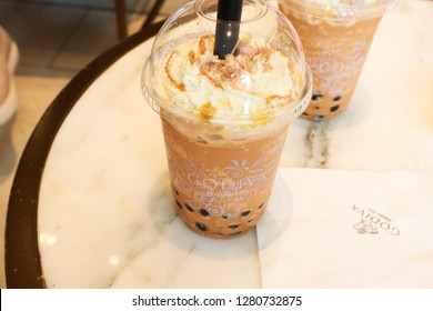 Bangkok, Thailand - December 29, 2018: Bubble tea in Godiva shop. Godiva Chocolatier is a manufacturer of premium chocolates founded in Belgium in 1926.