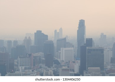 BANGKOK, THAILAND - DECEMBER 29, 2018 : Aerial view of Bangkok Thailand, air pollution of Bangkok with haze and fog from dust particulate matter 2.5 or PM2.5