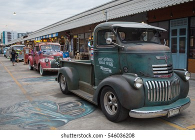 BANGKOK, THAILAND - December 30, 2016: Old vintage green chevrolet truck at Night market, Srinakarin road, that name is train market. This market is open every Wednesday to sunday.