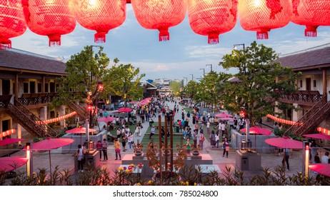 BANGKOK, THAILAND - DECEMBER 30, 2017 : New traditional landmark and old building chinese style in Bangkok, Architecture at LHONG 1919 in Bangkok ,Thailand