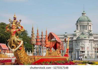 BANGKOK, THAILAND - DECEMBER 30, 2018 : People visit the Royal Winter Festival (Un Ai Rak 2), Ananta samakhom throne hall and Replica of Royal Barge Anantanakkharat Royal Plaza, Dusit Palace.